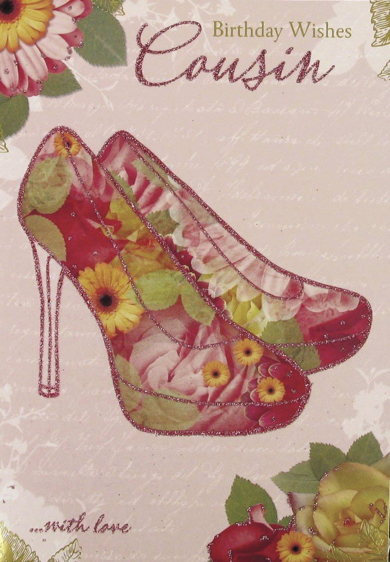 Gold female cousin birthday card floral glitter high heels 75 x 5 gold female cousin birthday card floral glitter high heels 75 x 5 code 718c amazon kitchen home kristyandbryce Image collections