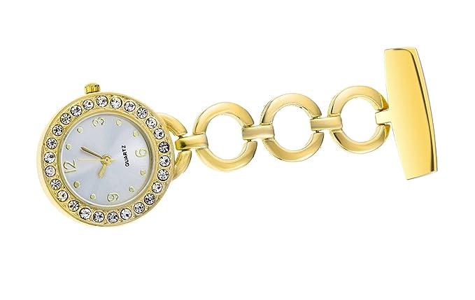 Beautiful Golden Fob Watch For Women With Rhinestone Quartz