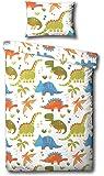 Dinosaurios cama Edredón Júnior Cubra y la funda de almohada Juego de cama (Blanco, naranja , verde, azul)
