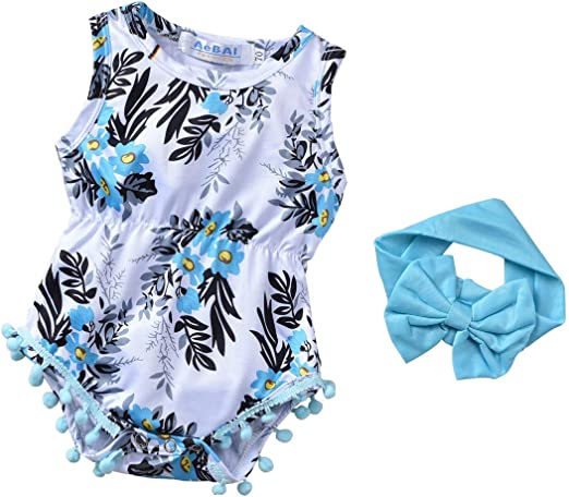 BFUSTYLE Newborn Toddler Baby Girl Floral Bodysuit Romper Summer Casual Outfit Headband