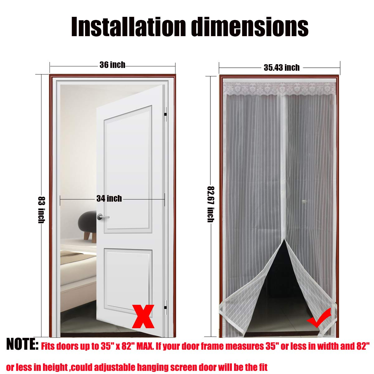 Magnetic Screen Door with Heavy Duty Mesh & Full Frame Stickers,Aopet Hands  Free Mesh Curtain,Magic Breeze Door Net, Keep Bugs Out Fly Screen 35