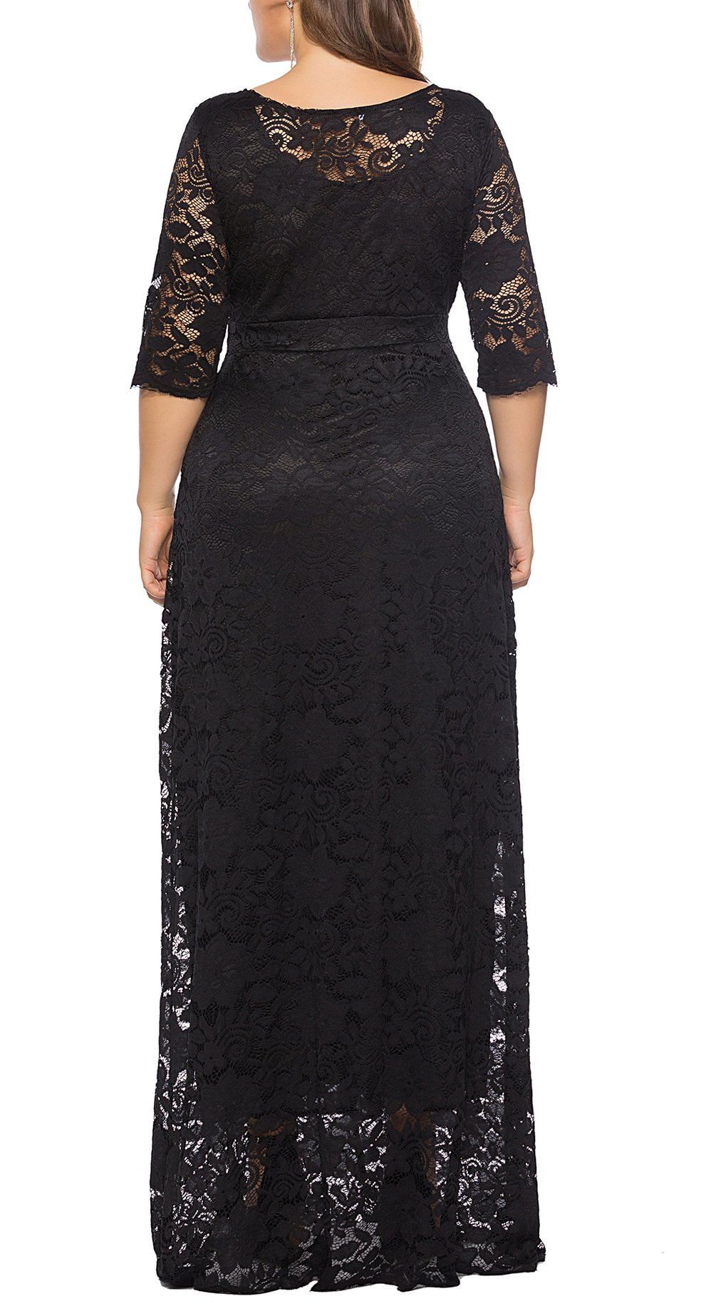 02eaaa47b9b Home Sizes 5x Plus Eternatastic Womens Floral Lace 2 3 Sleeves Maxi Dress  Evening Party Long Dress 5XL Black.   