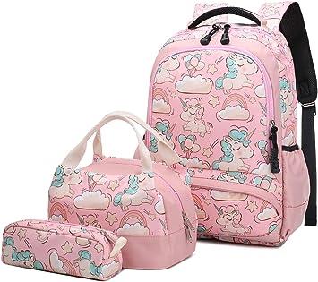Mochila Escolar Unicornio Niña Infantil Adolescentes Sets de Mochila Backpack Casual Set con Bolsa del Almuerzo y Estuche de Lápices Rosa: Amazon.es: Equipaje