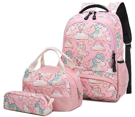 Mochila Escolar Unicornio Niña Infantil Adolescentes Sets de Mochila Backpack Casual Set con Bolsa del Almuerzo