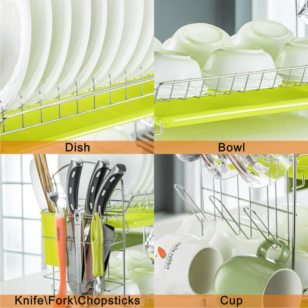 Dish Drying Rack Kitchen. Updated Version 2 Tier Dish Drainer Rack 19 inch Buckle Type Installation not Need Nuts Double Draining Tray Design Effectively Prevent Cross-Contamination. by WORTOOL (Image #4)