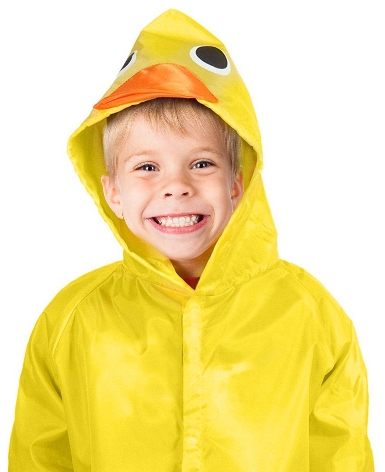 TRIBUTE Safe PVC Free Kids Rain Coat Boys or Girls Ages 7-12 Rain Poncho For Children With Zipper Fun Raincoat, Yellow Duck
