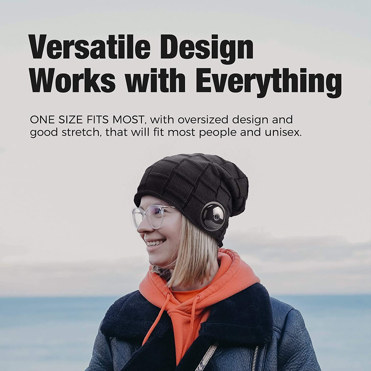 Great for Men and Women IPX5 Waterproof OCOOPA Bluetooth Beanie Hat Superior Sound with Bluetooth 5.1 Wireless Headphones Detachable Design All-Day Playtime