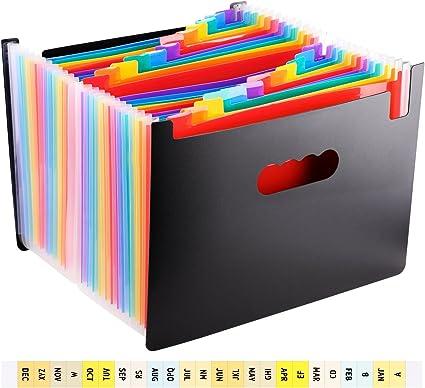 WXJ13 Carpeta archivadora portátil multicolor de 24 bolsillos A4 tamaño carta portadocumentos para negocios/oficina/oficina: Amazon.es: Oficina y papelería