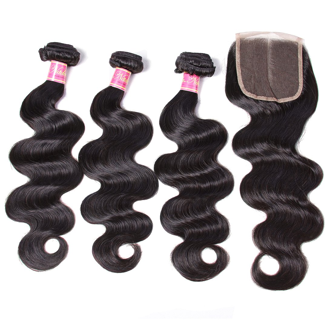 Nadula 6A Gorgeous Body Wave Brazilian Virgin Hair Free Part Lace Closure with 3 Bundles Unprocessed Remy Human Hair Weave Extensions Natural Color (18 20 22&16closure) by Nadula (Image #4)