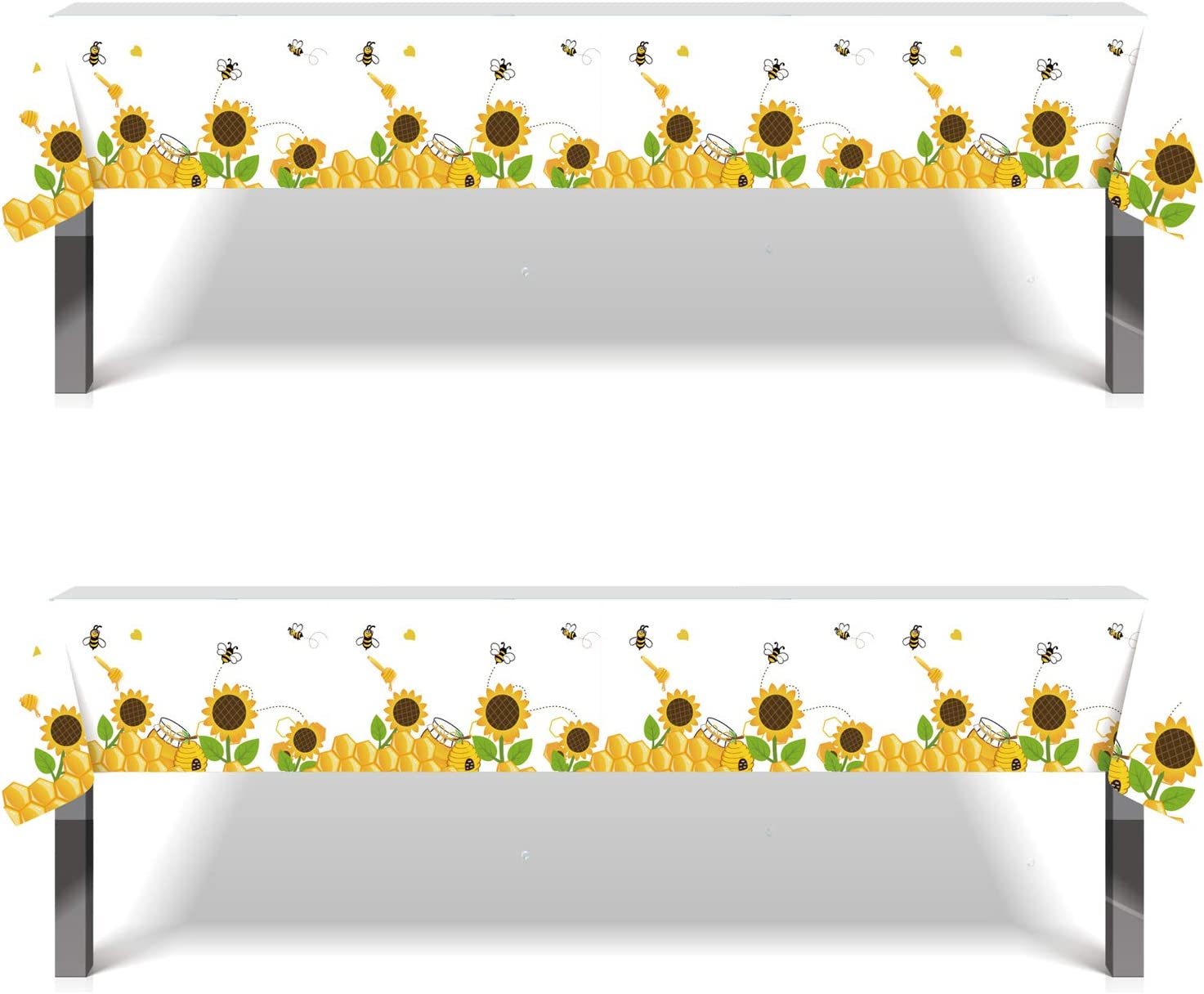 Bee Themed Party Supplies Decorations Kids Baby Shower Wedding Birthday Party Favors 86.6x52 Inch Disposable Printed Plastic Tablecloth Bumblebee Baby Plastic Table Cover