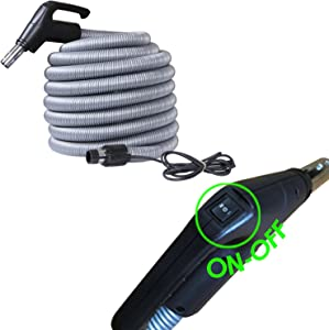 Ovo Universal Central Vacuum Hose High Voltage Switch Control - Crushproof Tube - Fits All Inlets, 40 FT, Black and grey