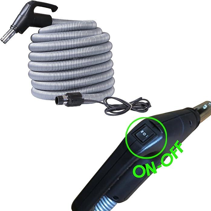 Ovo Universal HIGH-Voltage Central Vacuum Hose ACCHO-35HV-BK-OVO, 35 FT, Black and grey