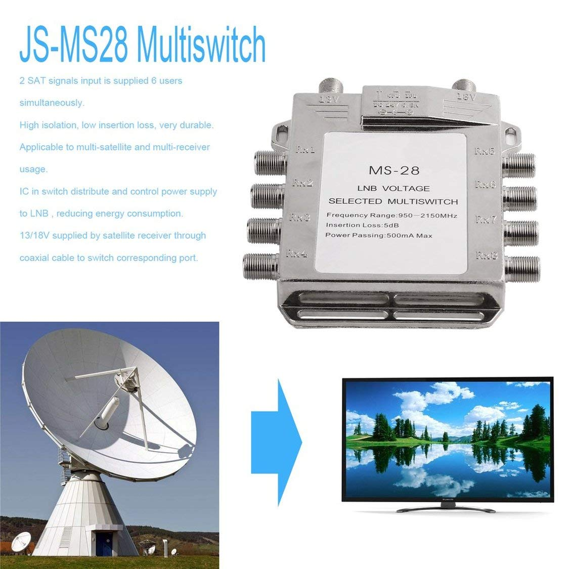 Amazon.com: Portable 2x8 JS-MS28 Satellite Signal ...