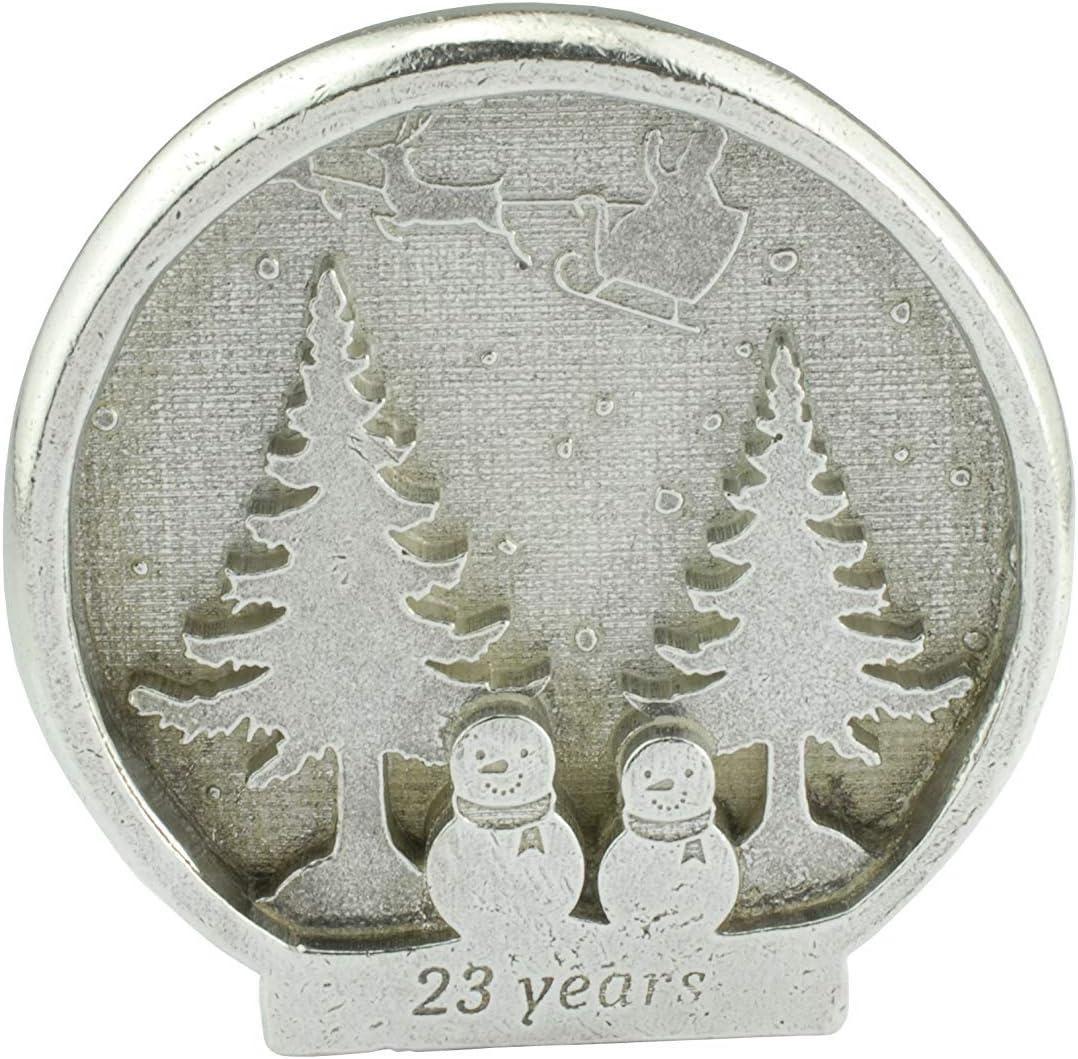 23 Year Christmas Snowman Scene Snowglobe Style 23rd Anniversary Metal Ornament Gift