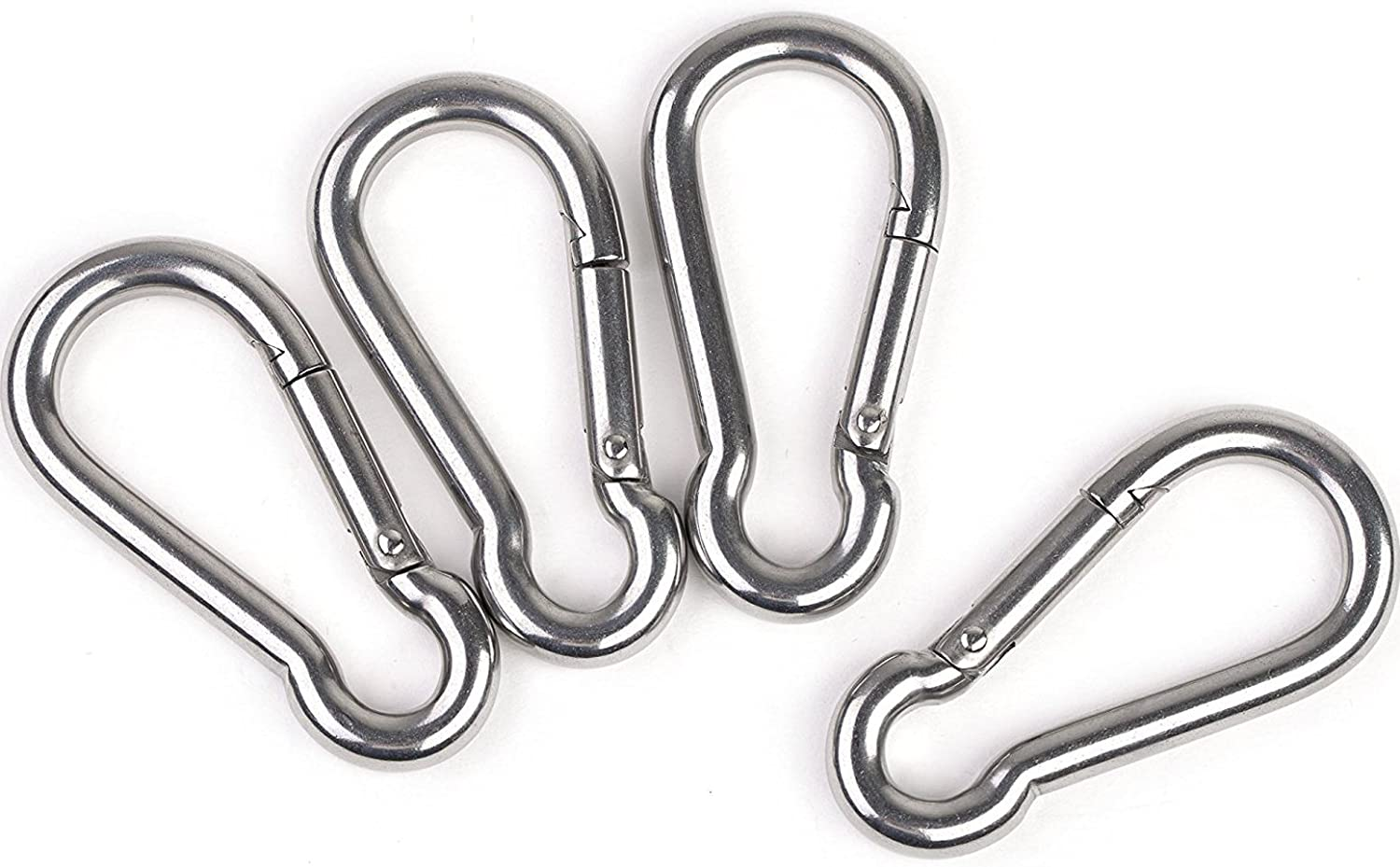 SSACK 8pcs Set 304 Stainless Steel Spring Snap Hook Carabiner Clips 3inch 80mm