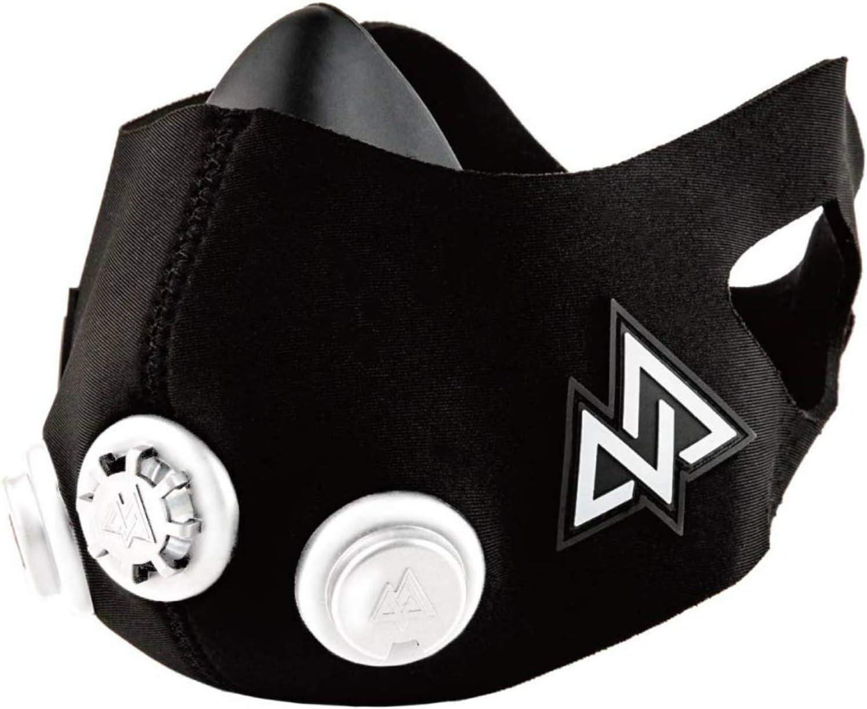 トレーニングマスク2.0 呼吸筋 室内トレーニング 肺活量 持久力〔アメリカで研究を重ねた持久力鍛錬デバイス〕短時間で減量 ランニング サッカー バスケ クロスフィット TRAININGMASK (Black, S)