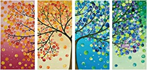 Nordic 4 Panels Four Season Wall Art Canvas Paintings Print Life Tree Picture on Poster Home Decor for Bedroom Decoration