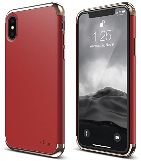 meet c55c5 94e34 elago Empire Series iPhone X Case - Scratch Resistant Grip Coated Slim Fit  Dual Toned Protective Cover for Apple iPhone X (2017) - Rose Gold/Red