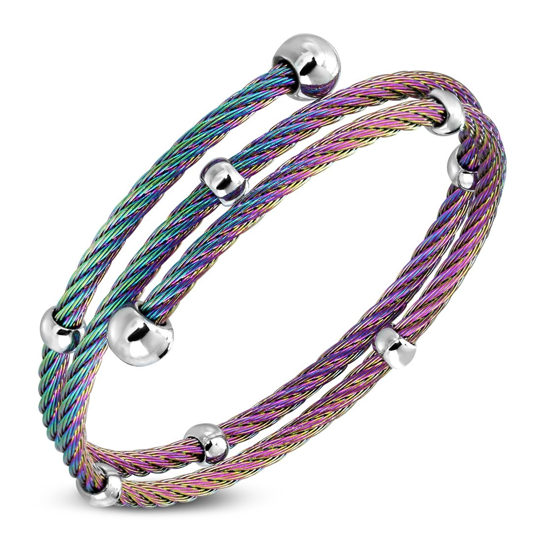 Stainless Steel Anodized Multi Wrap Beads Twisted Cable Wire Cuff Bangle Length 7.6