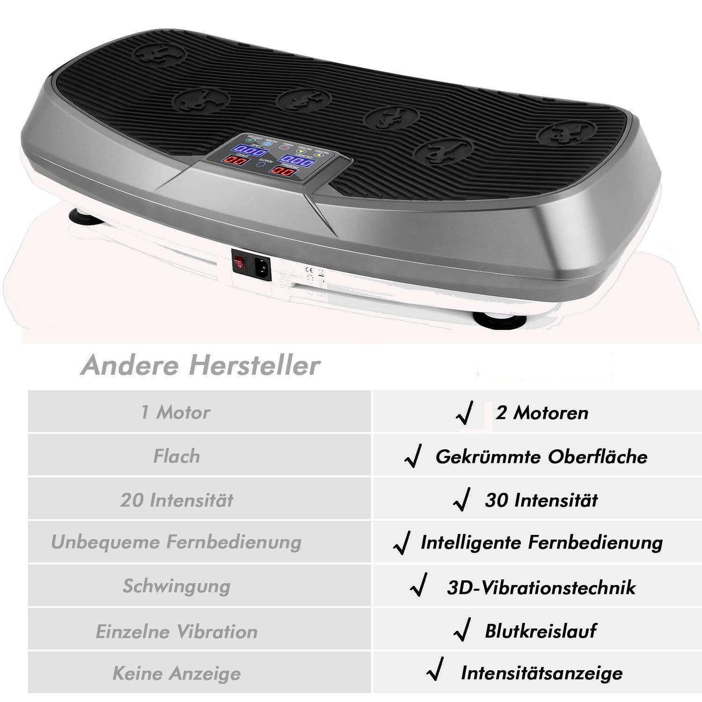 Fernbedienung Trainingsb/änder Color Touch Display inkl einmaligen Curved Design Hiriyt 3D Vibrationsplatte Unisex-Adult Ganzk/örper Trainingsger/ät rutschfest