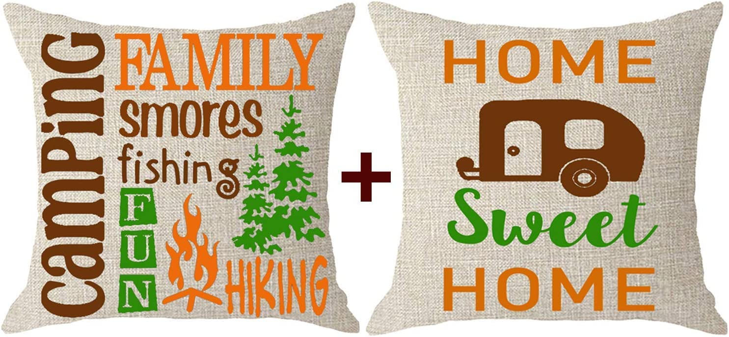 NIDITW Set of 2 Sister Aunt Gift Camping Bus Tree Family Home Sweet Home Body Burlap Throw Pillow Case Pillowcase Cushion Cover Pillow Sham Sofa Bedroom Living Room Decorative Square 18x18 Inches