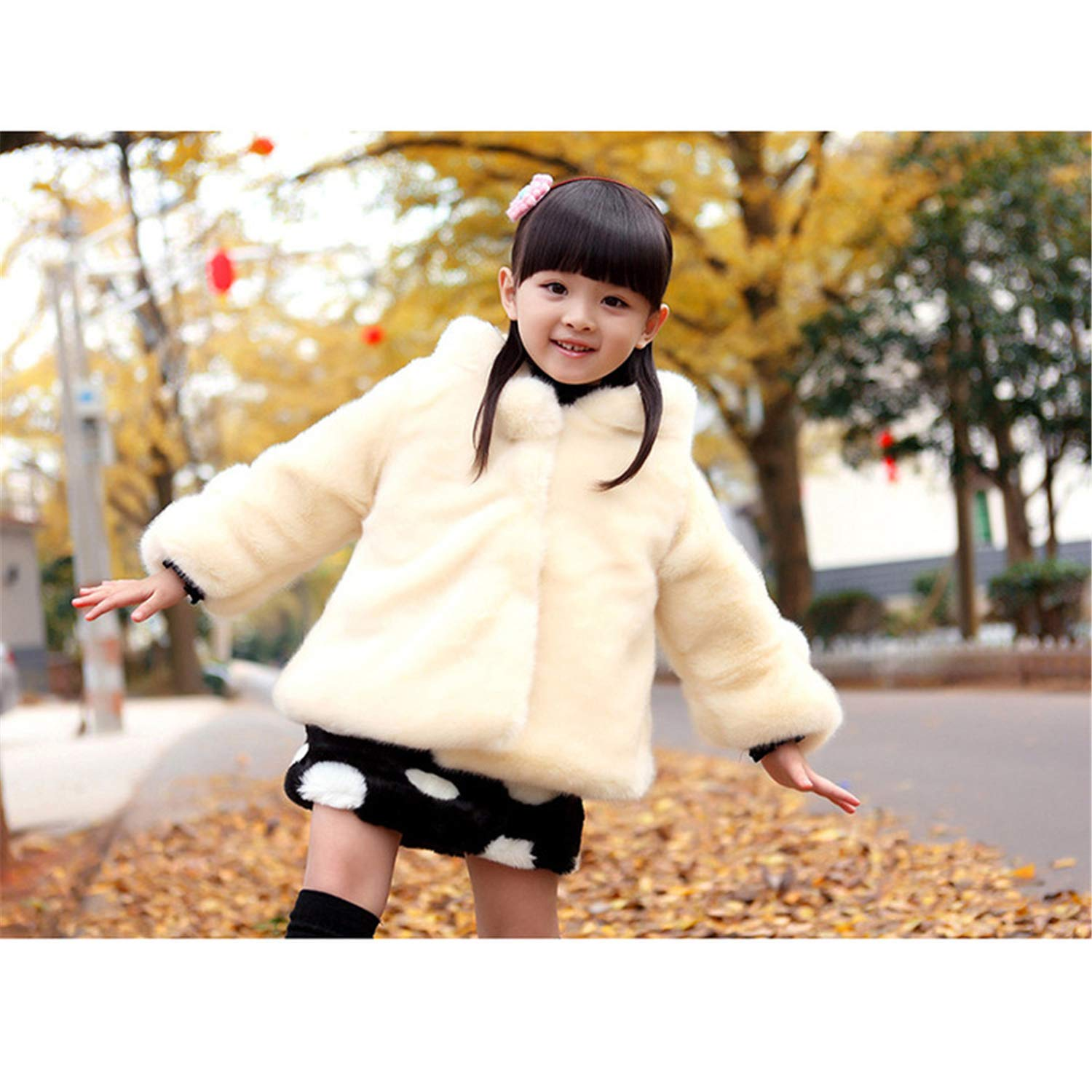 Luckcome Baby Infant Girls Fur Warm Cartoon Jacket Coat Cloak Overcoat Hoodies Cute Outdoor Suit