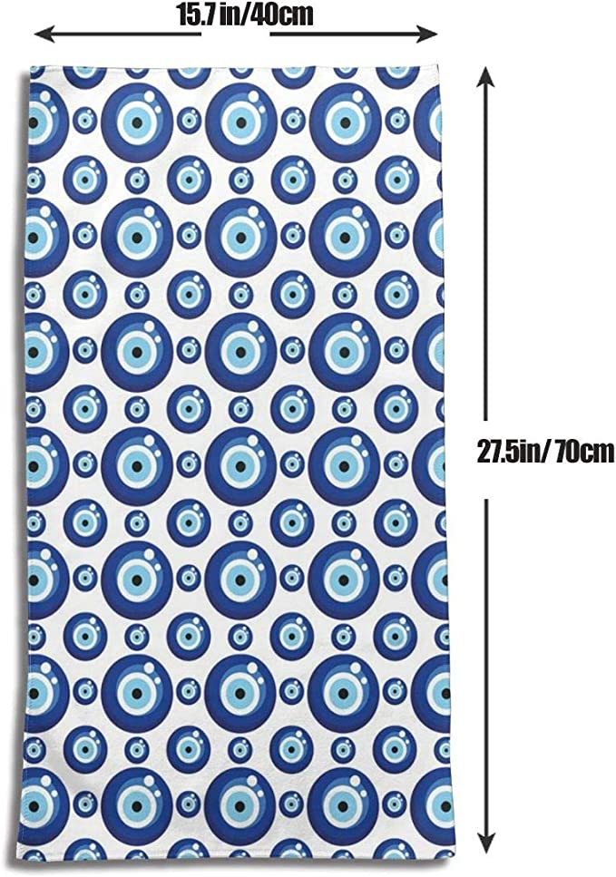 Ccsoixu Kitchen Dish Towels Wash Cloth Car Household Pet Bath Towel,Symmetrical Pattern all Seeing Eye Figures Superstitious Turkish Ethnic,27.5 inch X15.7Inch