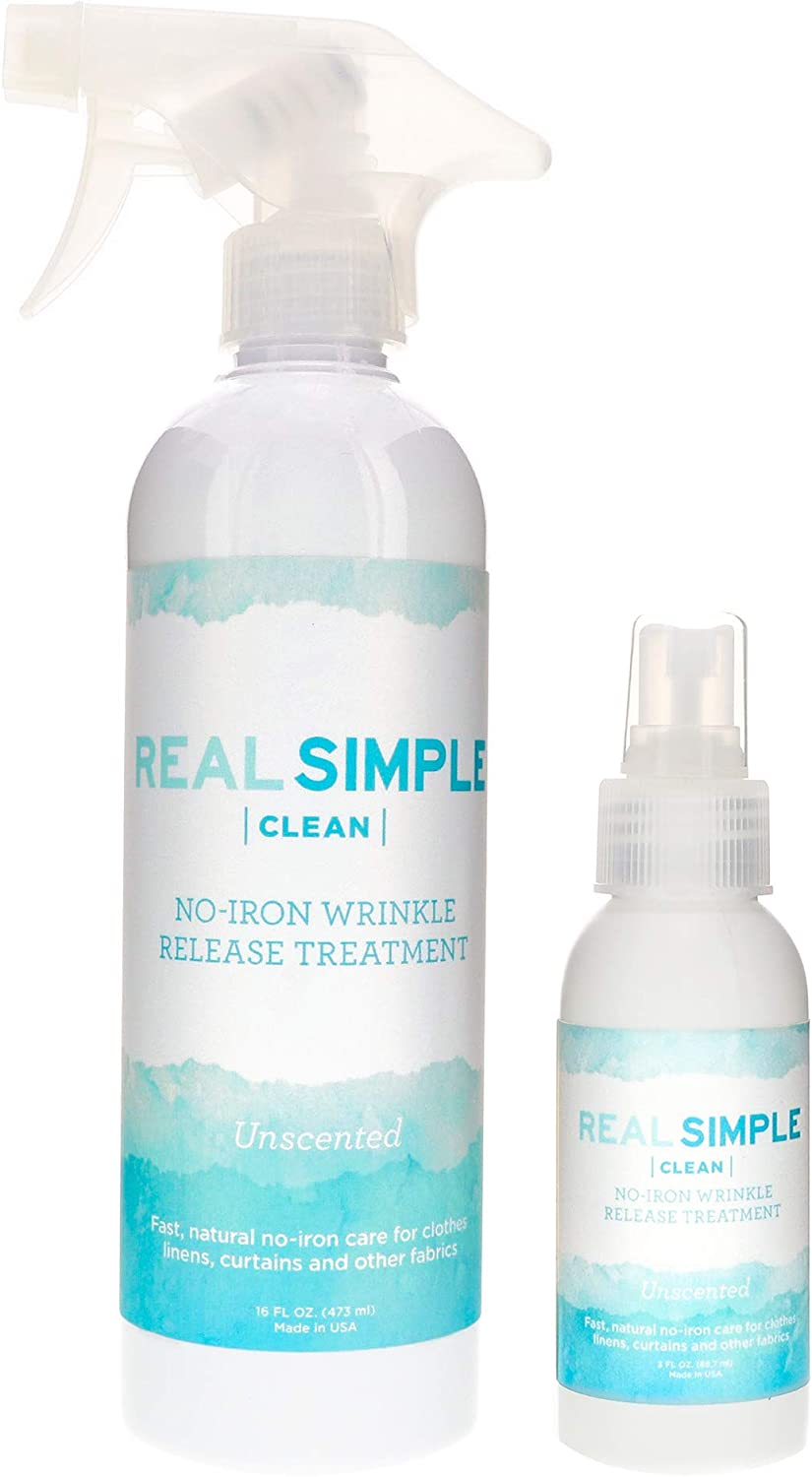 Real Simple Clean Wrinkle Release, Static Cling Remover, Pillow & Fabric Freshener, Out The Door No-Iron Quick Fix, USDA Certified Bio-Based & Biodegradable (Unscented, 16 oz. and 3 oz.)