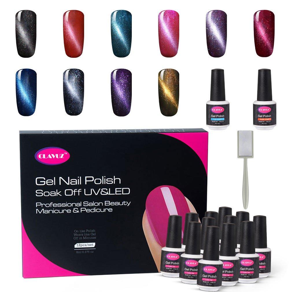Amazon.com : CLAVUZ Gel Nail Polish Set Magnetic Soak Off Gel ...