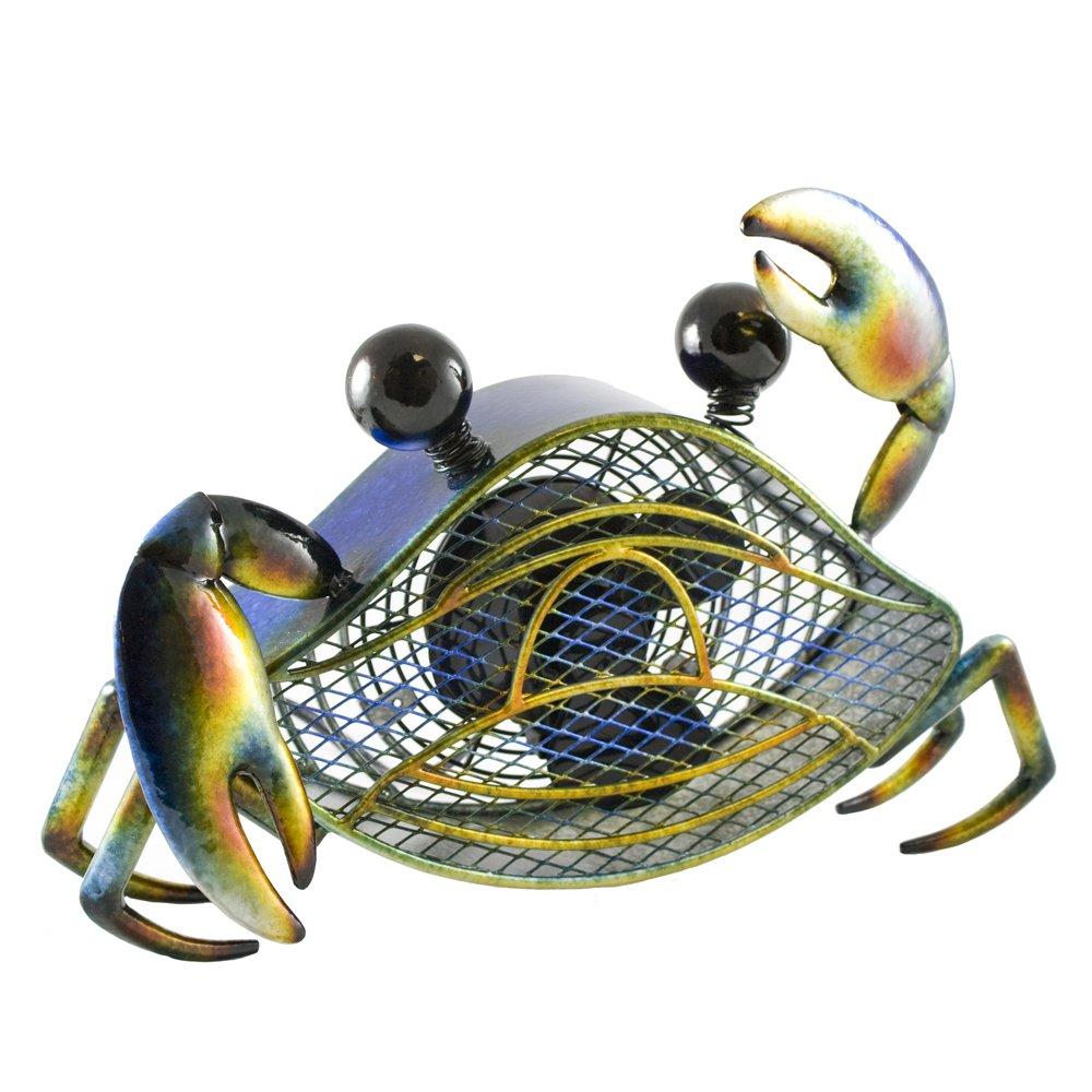 DecoBREEZE Decorative Table Fan, Desk Fan, Single Speed Electric Tabletop Fan, Figurine Fan, 4 inch, Blue Crab
