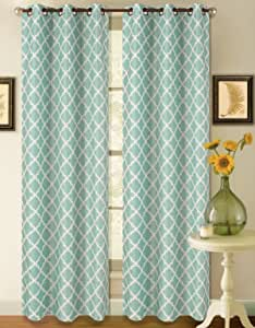 "GorgeousHomeLinen K22 1 PC Two Tone Modern Geometric Pattern Design Insulated Blackout Window Curtain Drape Panel 35"" width X 84"" length (Light Blue White)"