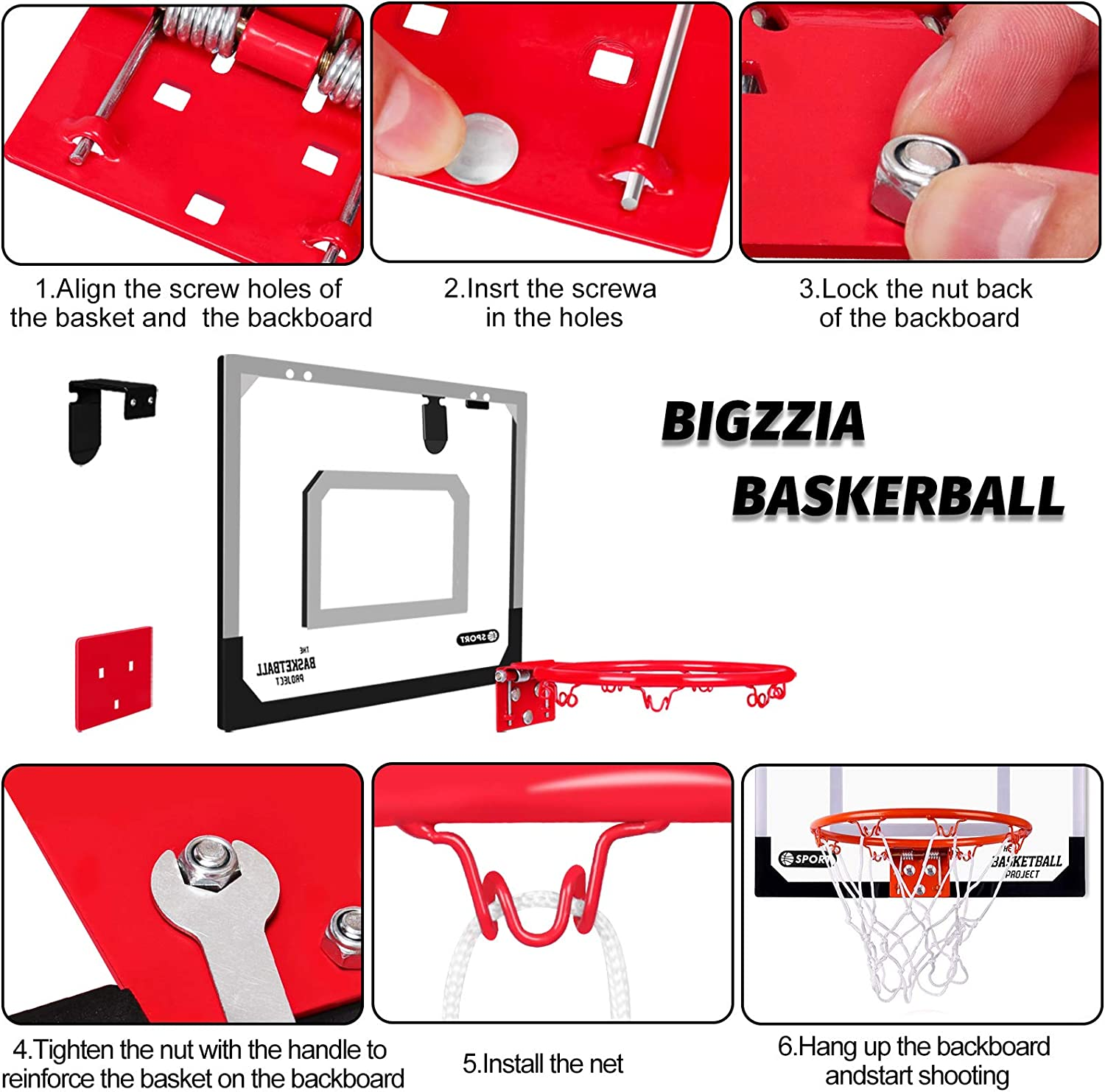 Bigzzia Indoor Basketball Hoop Includes 3 Mini Basketballs & Hand Pump with Needle for Door Wall Kids Adults Indoor Play : Sports & Outdoors