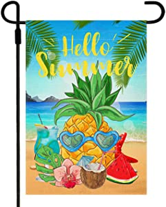 Doncida Hello Summer Garden Flag Double Sided Beach Pineapple Watermelon Coconut Garden Flag, Burlap Yard Flag Seasonal Summer Outdoor Decoration 12.5 x 18 Inch