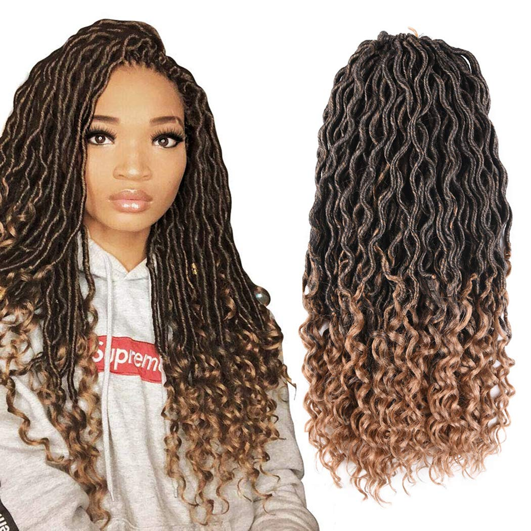 Amazon Com Goddess Faux Locs Crochet Hair Braids Synthetic Braiding Hair Deep Wave Curly Ends Loc Hair Extension Ombre New Style Fashion And Bouncy African Wavy Dreadlocks Hairstyles 6packs T1b 27 Beauty