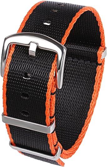 Correas Para Reloj Nylon 22mm Cinturón de Seguridad Correas Para Military Nato G10 Negro Naranja: Amazon.es: Relojes