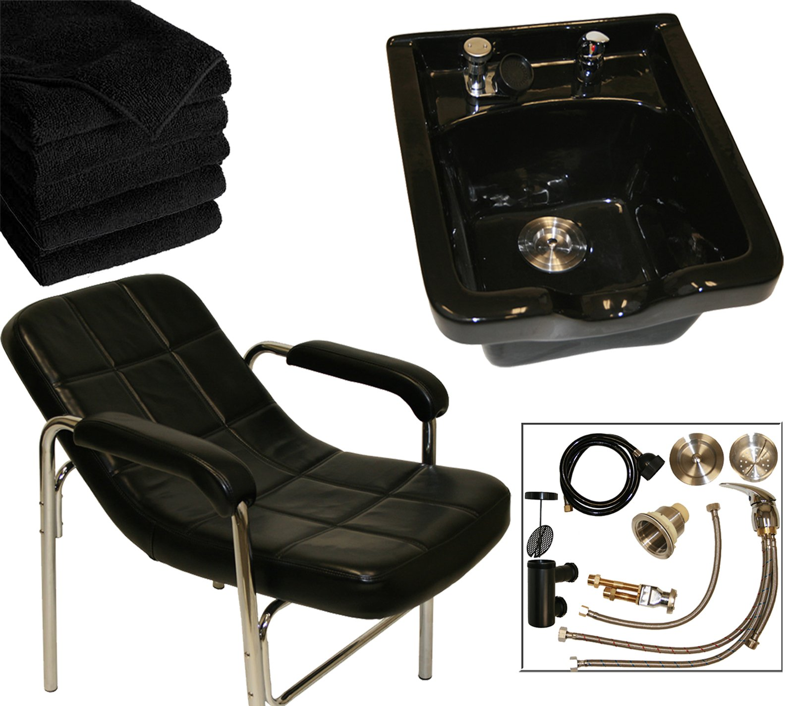 LCL Beauty Shampoo Package: Comfort-Curve Contemporary Slingback Shampoo Chair & Black Ceramic Shampoo Bowl