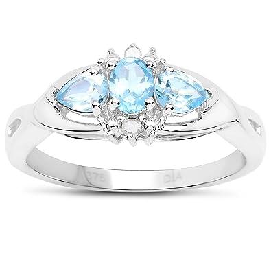 0e493ef523f5 La Colección de Anillos Topacio Azul   9ct Oro Blanco de Topacio Azul y  Diamantes