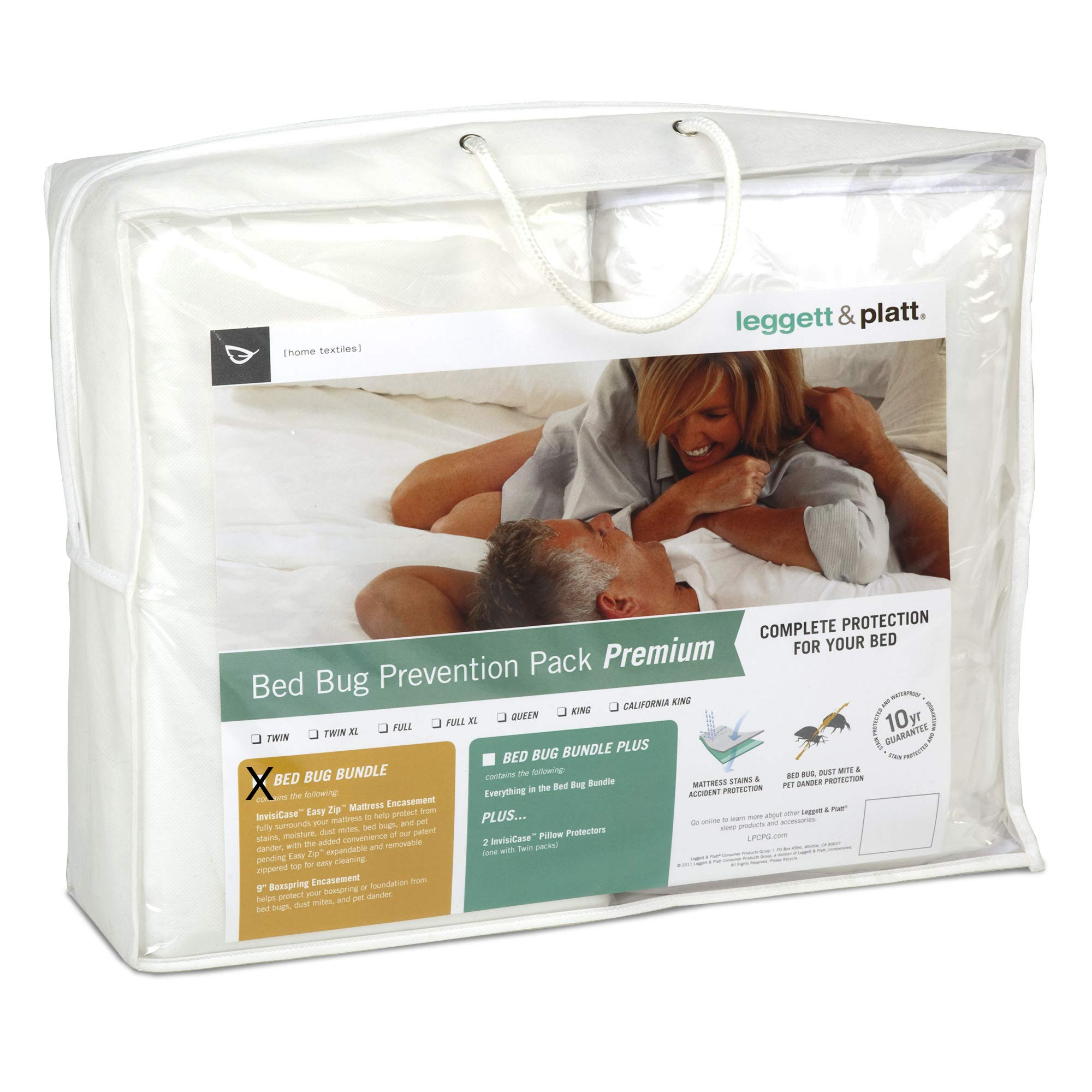 Leggett & Platt Sleep Calm 2-Piece Premium Bed Bug Prevention Pack with Easy Zip Mattress and Zippered Box Spring Encasement, Queen