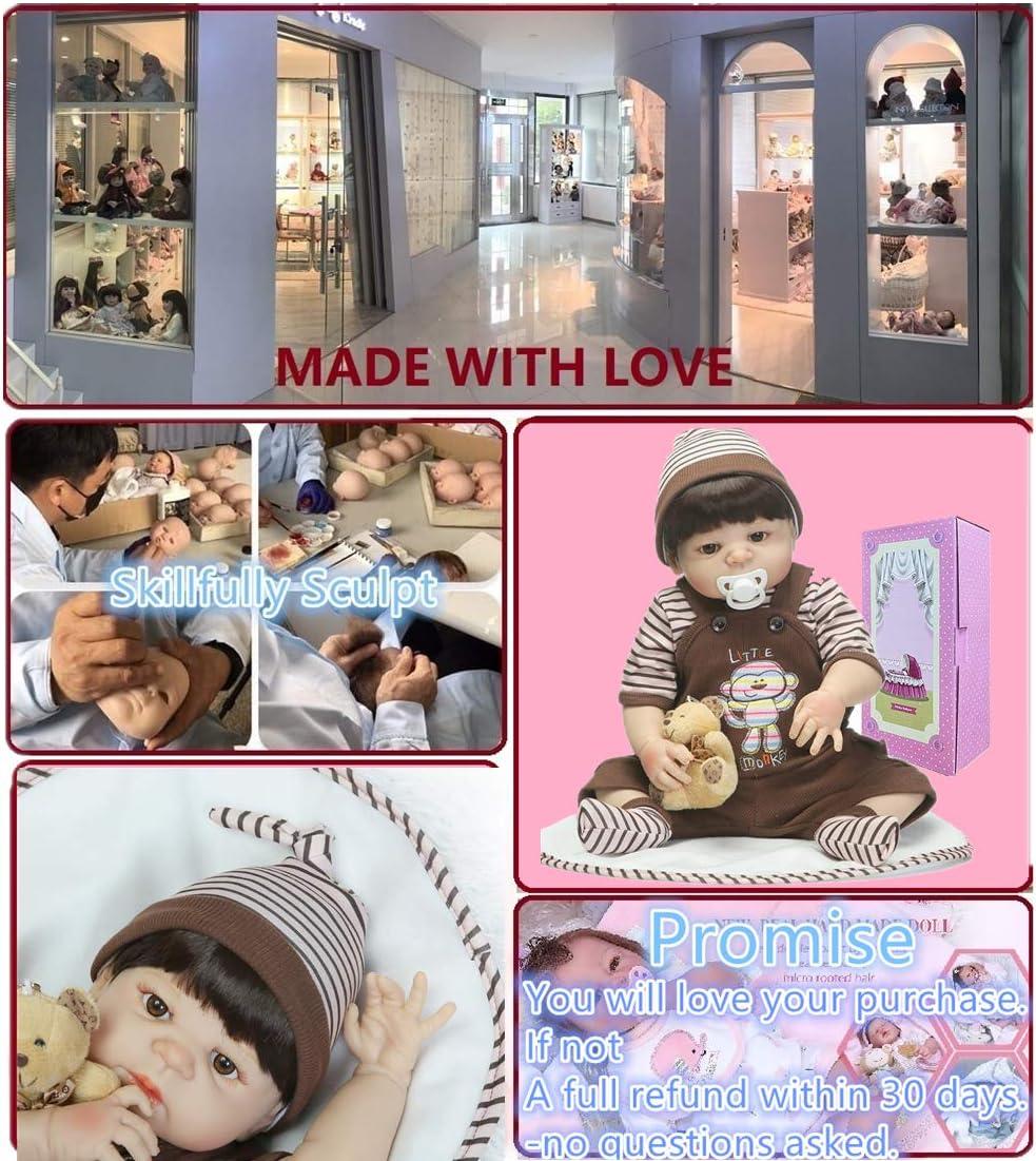 BYNPK Lifelike Reborn Baby Dolls Silicone Full Body Boy Eyes Open 22 inch Newborn Silicone Baby Doll Anatomically Correct Monkey Clothes