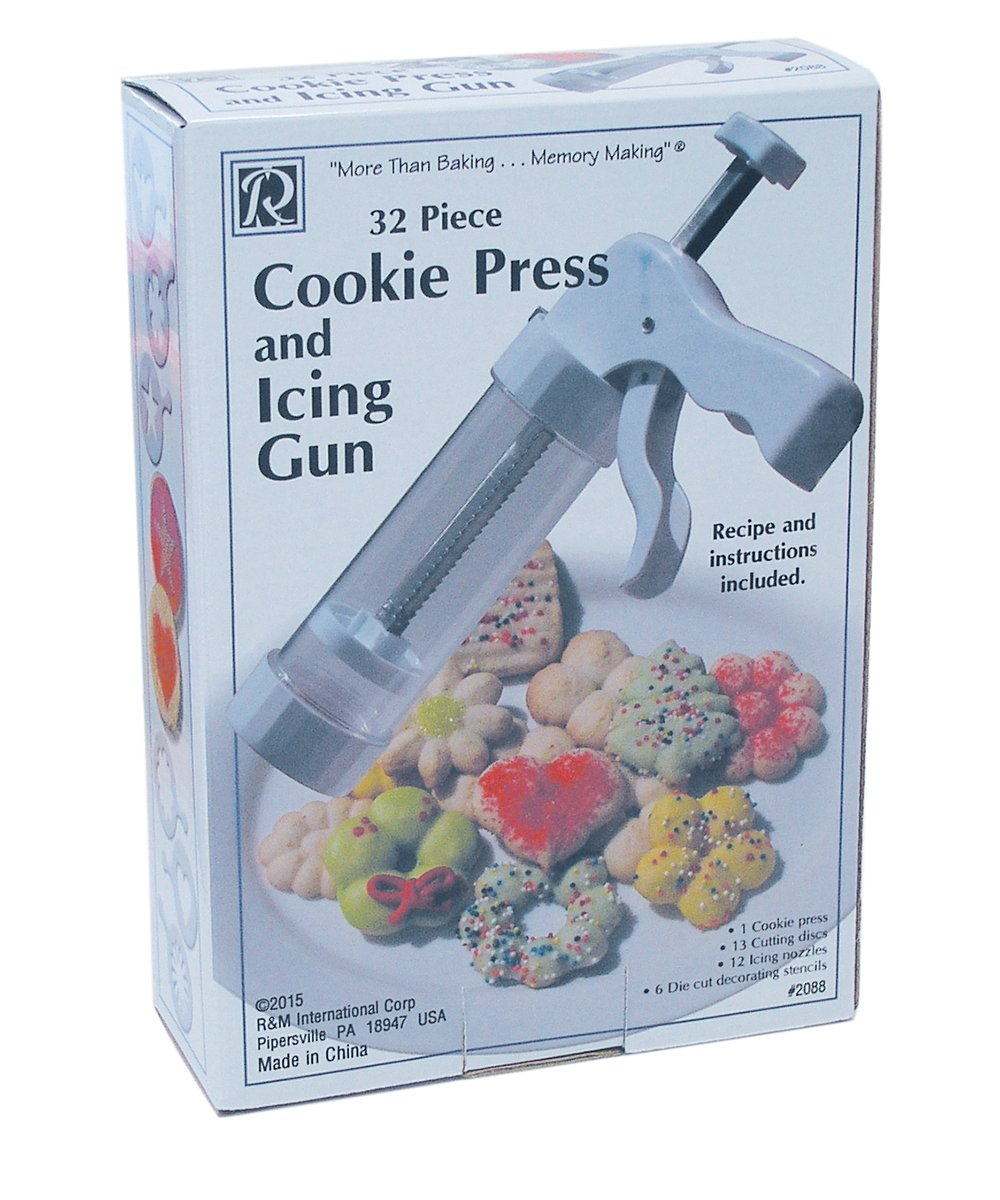 R&M International 2088 Cookie Press And Icing Gun Set, Includes 13 Cutting Discs, 12 Icing Nozzles, and 6 Decorating Stencils