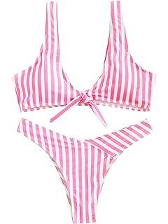 0f51a3494b50a Verochic Women s Stripe Sexy Bikini Swimsuit Tie Knot Front Swimwear Set