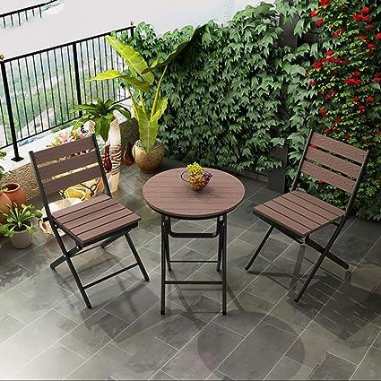 Mesa y silla plegables de madera retro de tres piezas para ...
