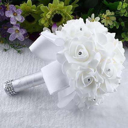 Amazon gotd crystal roses pearl bridesmaid wedding bouquet gotd crystal roses pearl bridesmaid wedding bouquet bridal artificial silk flowers white mightylinksfo