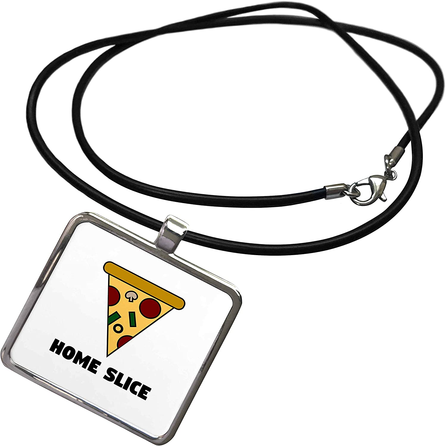 3dRose Stamp City - Typography - Home Slice. Pizza in Color and Black Lettering on White Background. - Necklace with Rectangle Pendant (ncl_325061)