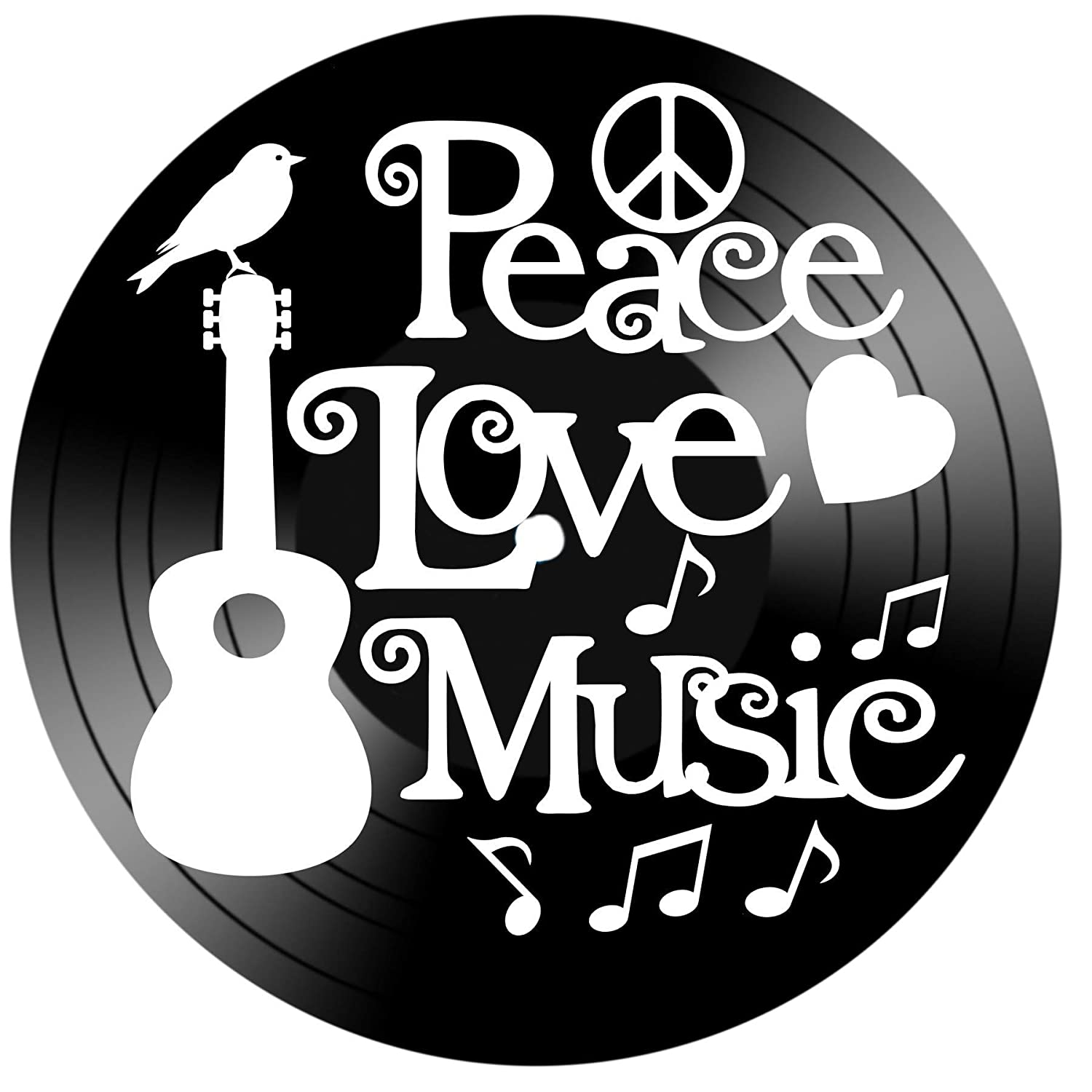 Peace Love Music Quote on a Repurposed Upcycled Vinyl Record Wall Album