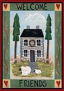 Toland Home Garden Cottage Welcome 12.5 x 18 Inch Decorative Americana Farm Home Sheep Heart Garden Flag