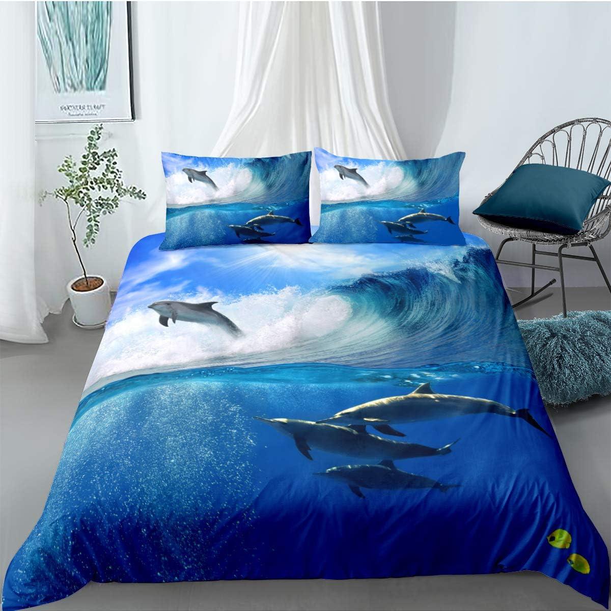 Bettw/äsche f/ür Kinder Cartoon Delfin Schildkr/öte Multicolor Ozean Welt Super Weiche Atmungsaktive Eleganter Stil Mikrofaser Bettbezug und Kopfkissenbez/üge Delphin 01, 135 x 200 cm