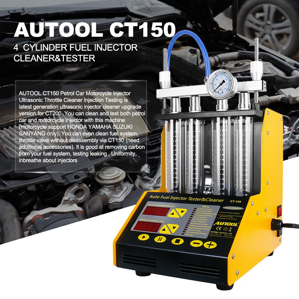 AUTOOL MINI CT-150 Automotive 4 Cylinder Ultrasonic Wave Injector Cleaner  and Tester Support Motorcycle CT150 Automotive Fuel Cleaning Tools With