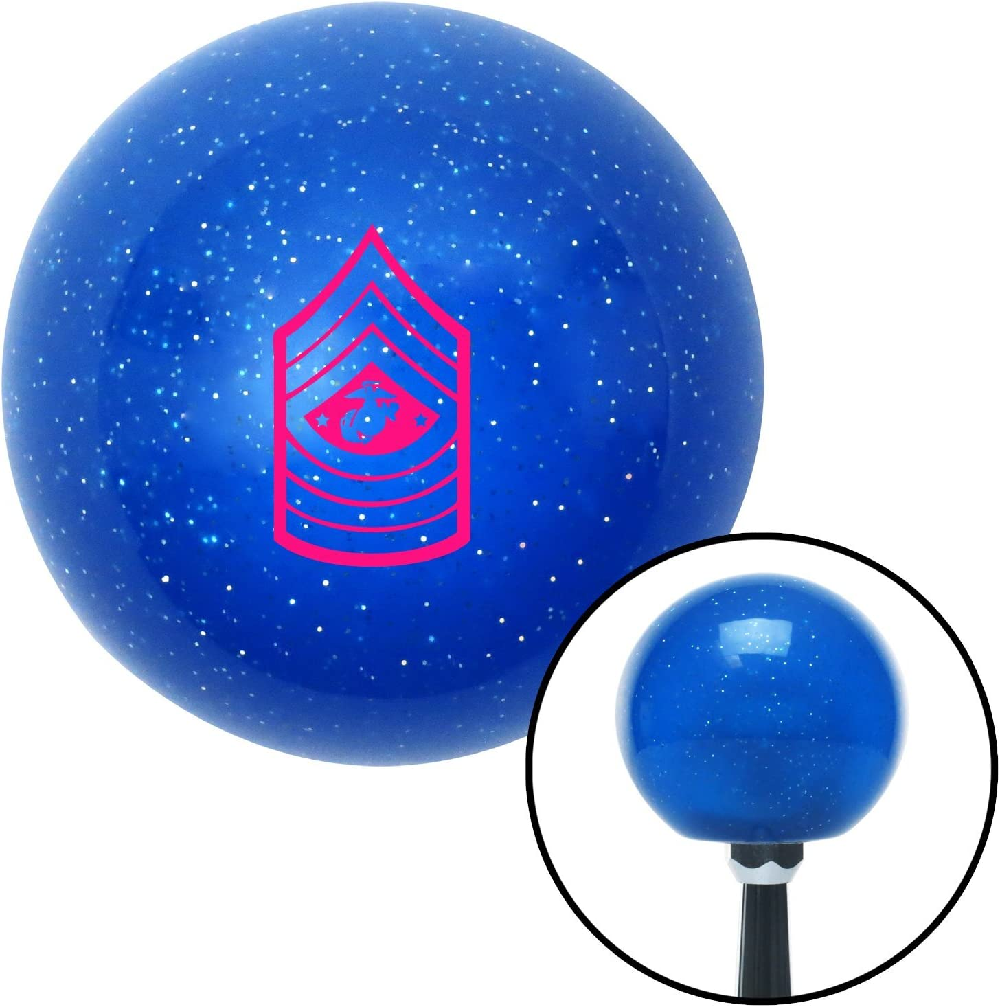 American Shifter 26398 Blue Metal Flake Shift Knob Pink 11 Sergeant Major of The Marine Corps