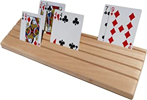 """Solid Wood Playing Card Holder With Angled Slots So Cards Point Towards Your Face, Not Your Chest- Holds 88 Cards- 14"""" Long - For Kids, Seniors, Adults Tested with Canasta, Bridge, Uno, and More"""